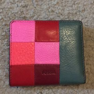 💕Fossil multicolored leather bifold wallet cute
